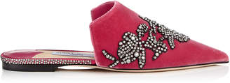 Jimmy Choo RACHEL FLAT Pink Velvet Mules with Peony Crystal Embroidery