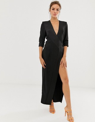Asos DESIGN maxi tux dress in crepe