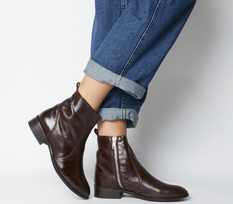 Office Ashleigh Flat Ankle Boots Choc Leather