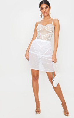 ASA Trad White Mesh Ruched Mini Skirt