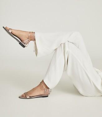 Reiss Zhane - Satin Strappy Wrap Sandals in Blush