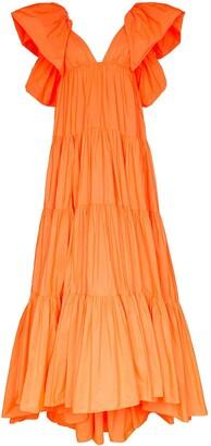 Valentino Puff-Shoulder Tiered Gown