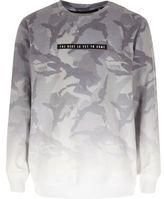 River Island Boys grey faded camo sweatshirt