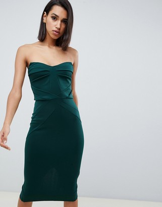 Asos Design DESIGN seamed bandeau midi bodycon dress-Green