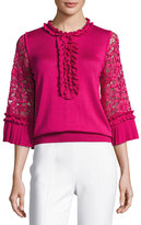 Andrew Gn Ruffle Silk-Knit Top with Lace Sleeves, Fuchsia