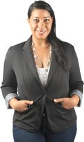 Hadari Women's Plus Size Long Sleeve Collar Business Blazer
