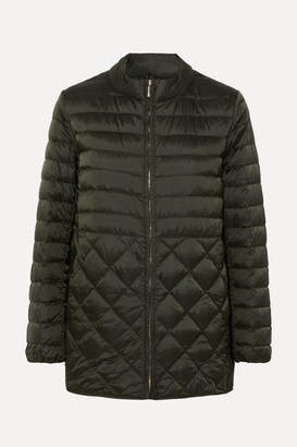 Max Mara The Cube Hooded Belted Quilted Shell Down Coat - Gray green