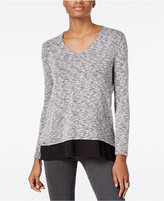 Bar III V-Back Chiffon-Contrast Top, Only at Macy's