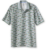 Classic Men's Short Sleeve Print Mesh Polo Shirt-White Texture Stripe