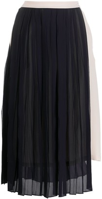 Semi-Couture Contrast Panel Pleated Skirt