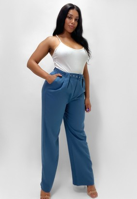 Missguided Plus Size Blue Co Ord Highwaisted Belted Cigarette Trousers