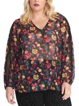 Rachel Roy Trendy Plus Size Eve Floral-Print Top