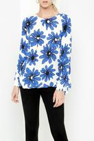 Karen Kane Blue Daisy Handkerchief Top