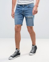 Asos Denim Shorts In Slim Mid Blue With Thigh Rip