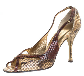 Dolce & Gabbana Multicolor Python Leather Peep Toe Slingback Sandals Size 38
