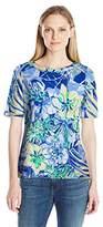 Caribbean Joe Women's Petite Size Printed Cotton Spandex Elbow Sleeve Boatneck Tee Shirt