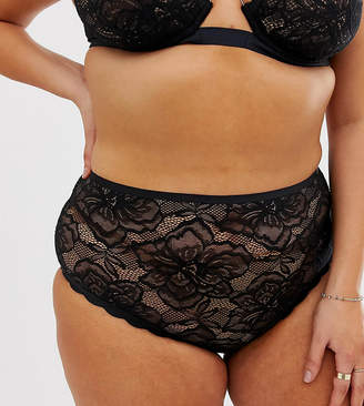 Figleaves Curve The Luxe lace highwaisted underwear in black