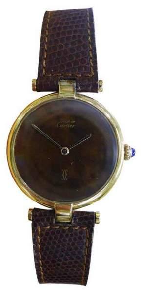 Cartier Must De Vermeil Gold Plated Sterling Silver & Brown Dial 30mm Mens Watch