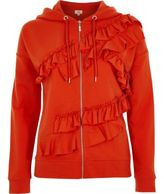 River Island Womens Orange frill front zip-up hoodie