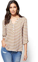 New York & Co. Soho Soft Shirt - Split-Sleeve V-Neck Blouse - Stripe