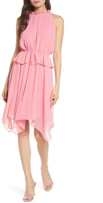 Sam Edelman Ruffled Halter Neck Handkerchief Hem Dress