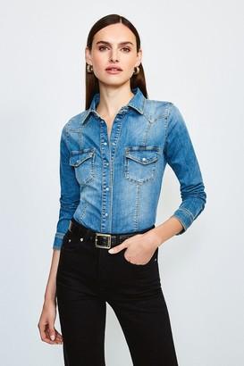 Karen Millen Classic Popper Front Denim Shirt