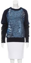 Reed Krakoff Leather Panel Crew Neck Sweater