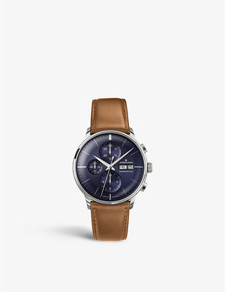 Junghans 027/4526.01 Meister Chronoscope stainless steel and leather watch