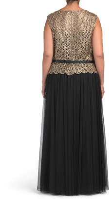 Plus Lace Bodice With Belt Gown