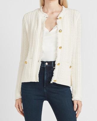 Express Button-Up Fringe Sweater Jacket