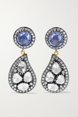 Amrapali Sterling Silver-plated 18-karat Gold, Tanzanite And Diamond Earrings - one size