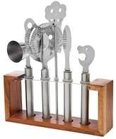 Godinger 6-Piece Bartool Set with Wood Stand