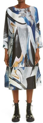 Pleats Please Issey Miyake Musa Pleated Long Sleeve Trapeze Dress