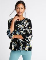 Marks and Spencer Pure Cotton Floral Print Peplum Shell Top