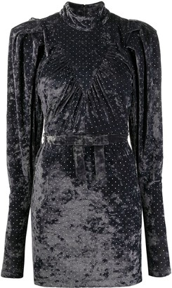 Rotate by Birger Christensen Micro-Studded Velvet Mini Dress