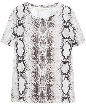 Maje Snake-print Cotton And Linen-blend T-shirt