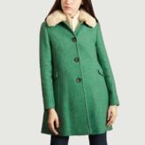 Trench & Coat - Greenery Wool Balmaz Fur Effect Removable Collar Coat - wool | Greenery | 36