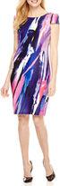 Donna Ricco Short Cap Sleeve Sheath Dress-Petites