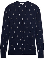 Equipment Sullivan Anchor-embroidered Knitted Cardigan - Navy