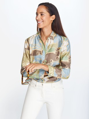 J.Mclaughlin Lois Silk Shirt in Dover Dressage