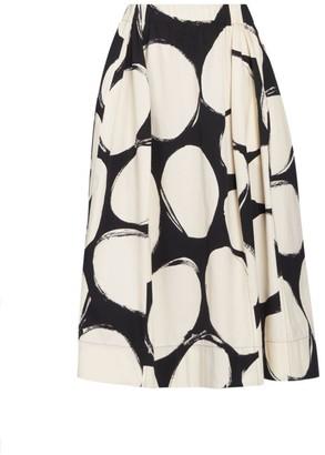 Marni Dotted Pleated Cotton Midi Skirt
