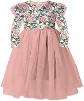 Orchid Lane Girls' Special Occasion Dresses - Coral Floral Ruffle-Accent A-Line Dress - Toddler & Girls