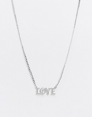 Topshop necklace with 'Love' slogan in silver