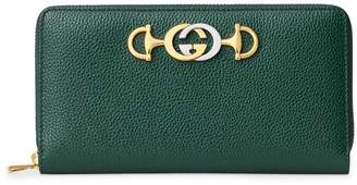 Gucci Zummi Grainy Leather Zipper Around Wallet
