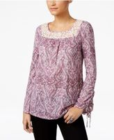 Style&Co. Style & Co Paisley-Print Lace-Trim Top, Only at Macy's