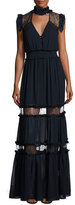 Nicholas Ruffle-Trim Georgette & Lace Gown, Navy