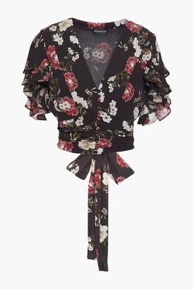 Nicholas Cropped Ruffled Floral-print Silk-crepe Top