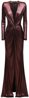 Azzaro Draped Metallic Long Dress W/ Slit