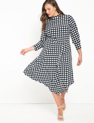 ELOQUII Mock Neck Dress with Flounce