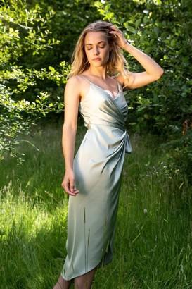 Liena Tie Side Cami Wrap Dress in Sage Green